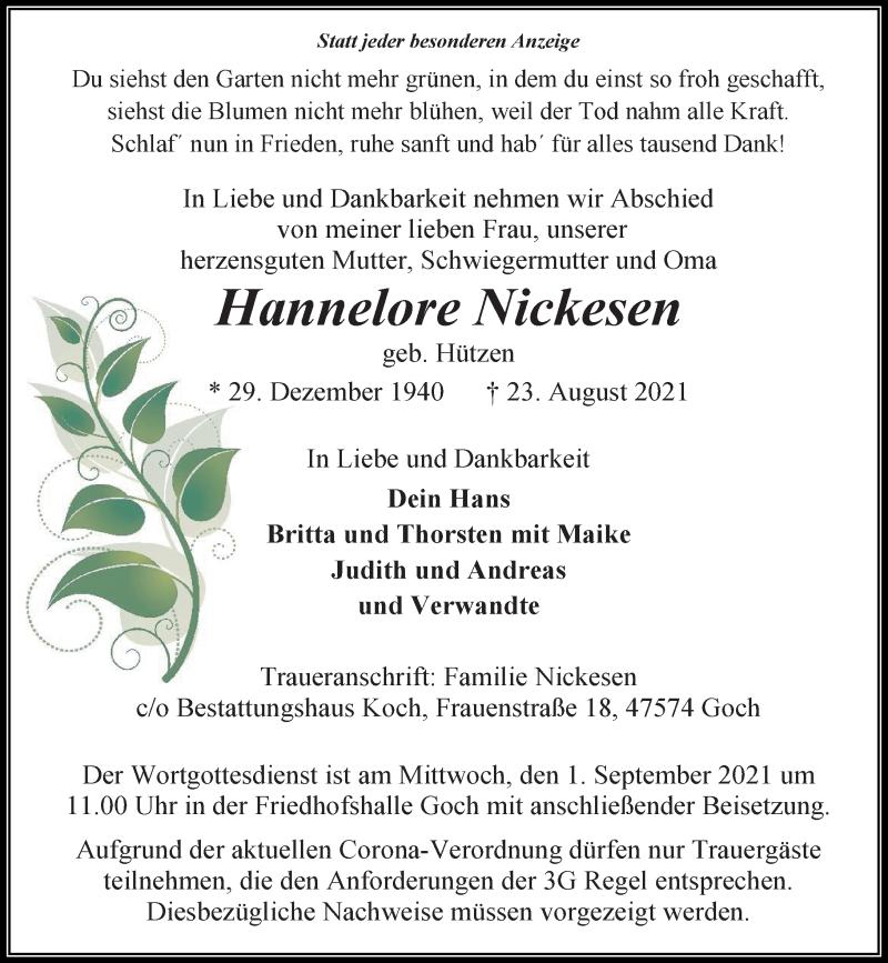 Traueranzeige für Hannelore Nickesen vom 28.08.2021 aus Rheinische Post