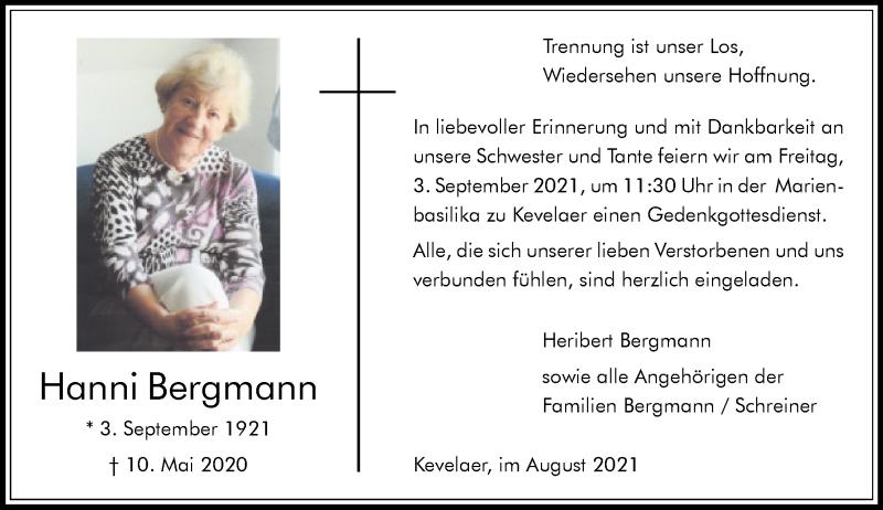 Traueranzeige für Hanni Bergmann vom 28.08.2021 aus Rheinische Post
