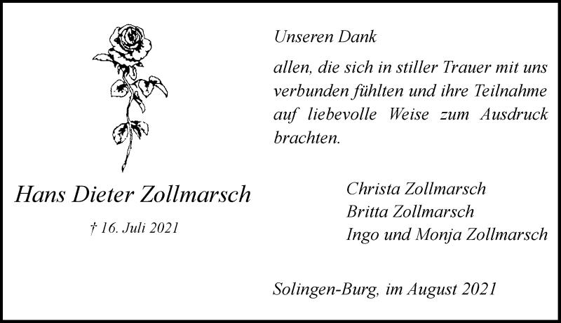Traueranzeige für Hans Dieter Zollmarsch vom 21.08.2021 aus Rheinische Post
