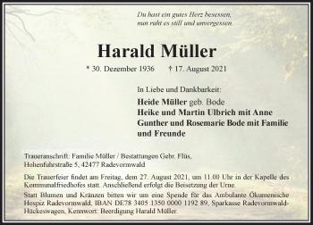 Traueranzeige von Harald Müller von Rheinische Post