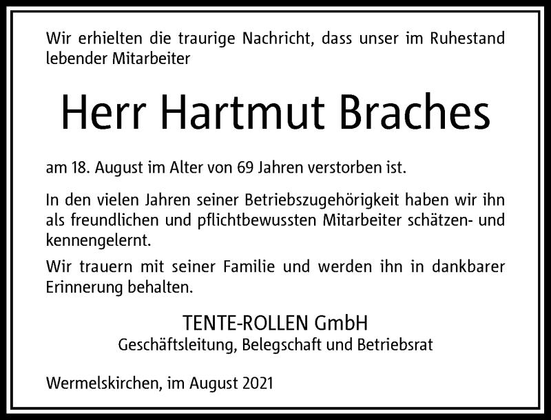 Traueranzeige für Hartmut Braches vom 01.09.2021 aus Rheinische Post