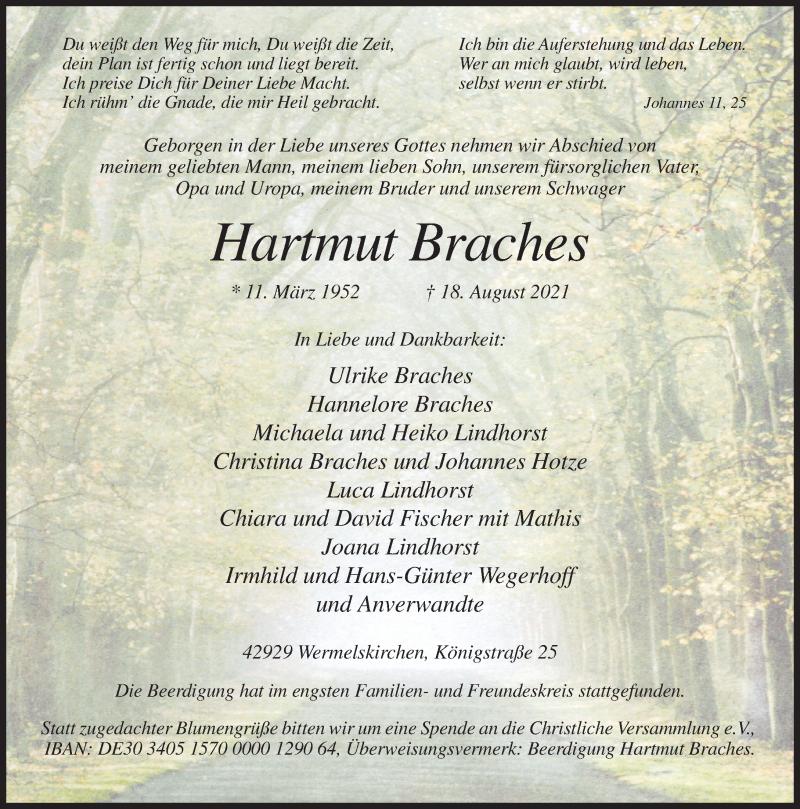 Traueranzeige für Hartmut Braches vom 28.08.2021 aus Rheinische Post