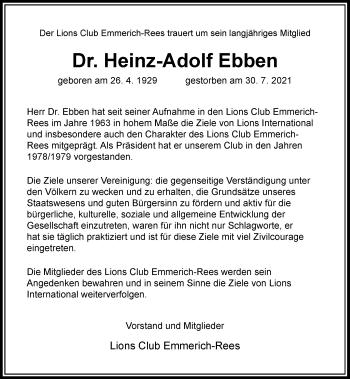 Traueranzeige von Heinz-Adolf Ebben von Rheinische Post