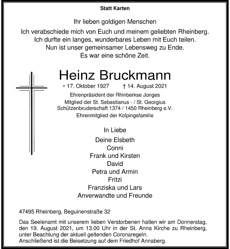 Traueranzeige für Heinz Bruckmann vom 17.08.2021 aus Rheinische Post