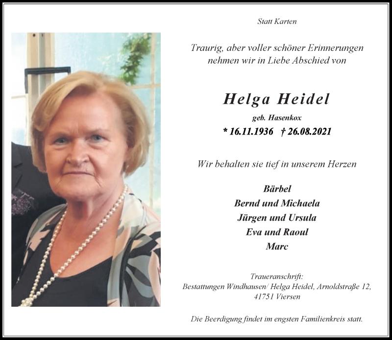 Traueranzeige für Helga Heidel vom 28.08.2021 aus Rheinische Post