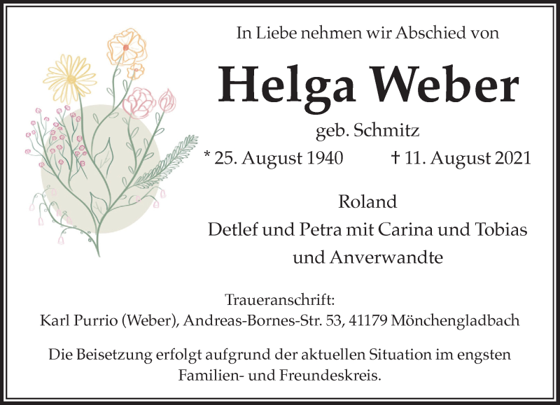 Traueranzeige für Helga Weber vom 21.08.2021 aus Rheinische Post