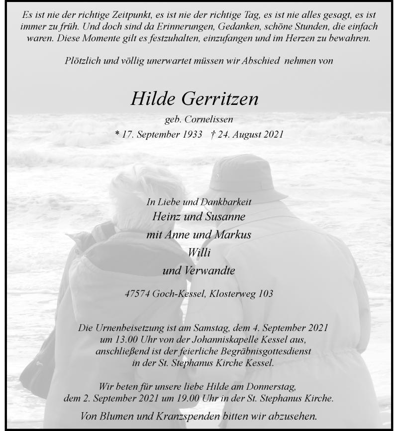 Traueranzeige für Hilde Gerritzen vom 31.08.2021 aus Rheinische Post