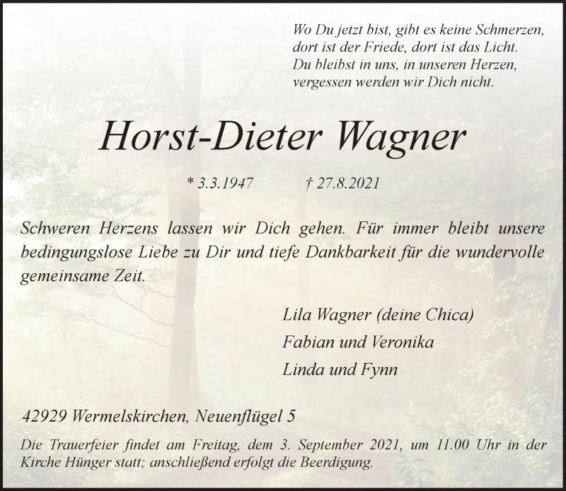 Traueranzeige für Horst-Dieter Wagner vom 31.08.2021 aus Rheinische Post