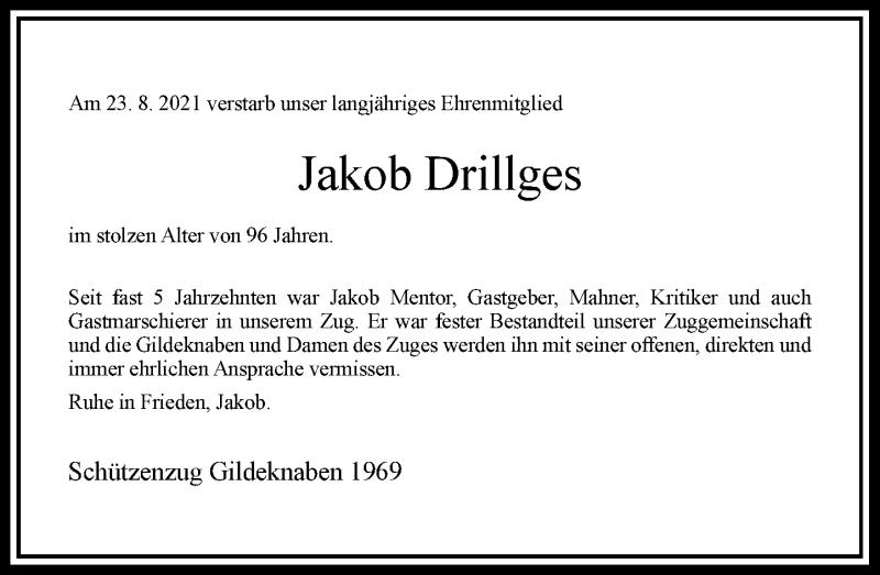 Traueranzeige für Jakob Drillges vom 28.08.2021 aus Rheinische Post