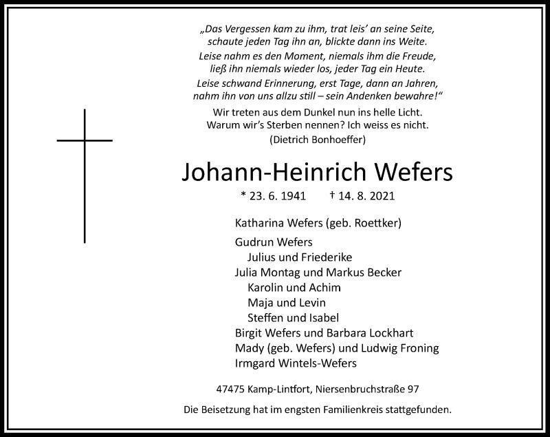 Traueranzeige für Johann-Heinrich Wefers vom 28.08.2021 aus Rheinische Post