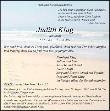Traueranzeige von Judith Klug von Rheinische Post