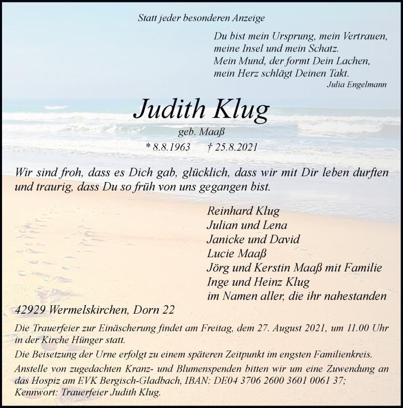 Traueranzeige für Judith Klug vom 26.08.2021 aus Rheinische Post