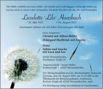 Traueranzeige von Lieselotte Haasbach von Rheinische Post