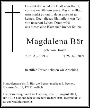 Traueranzeige von Magdalena Bär von Rheinische Post