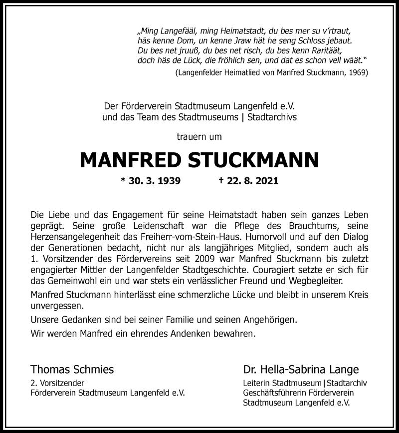 Traueranzeige für Manfred Stuckmann vom 28.08.2021 aus Rheinische Post