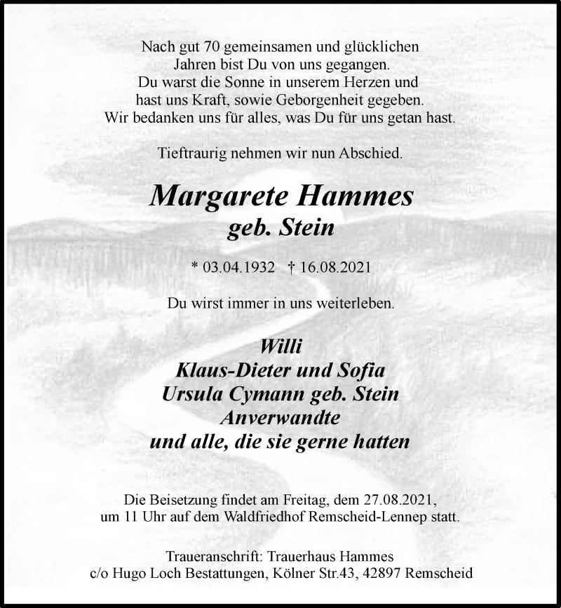 Traueranzeige für Margarete Hammes vom 21.08.2021 aus Rheinische Post