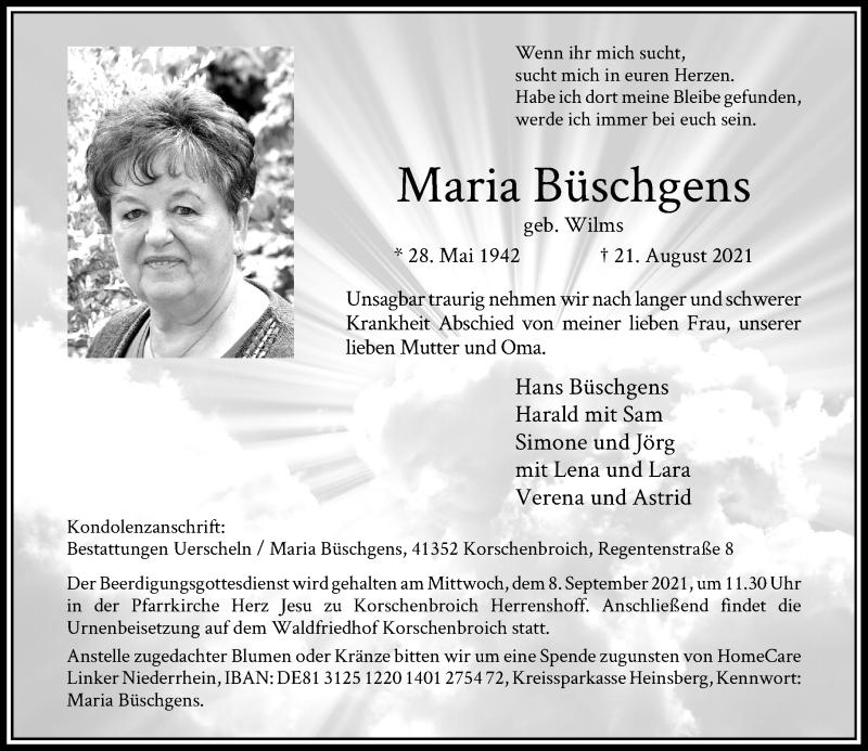 Traueranzeige für Maria Büschgens vom 28.08.2021 aus Rheinische Post