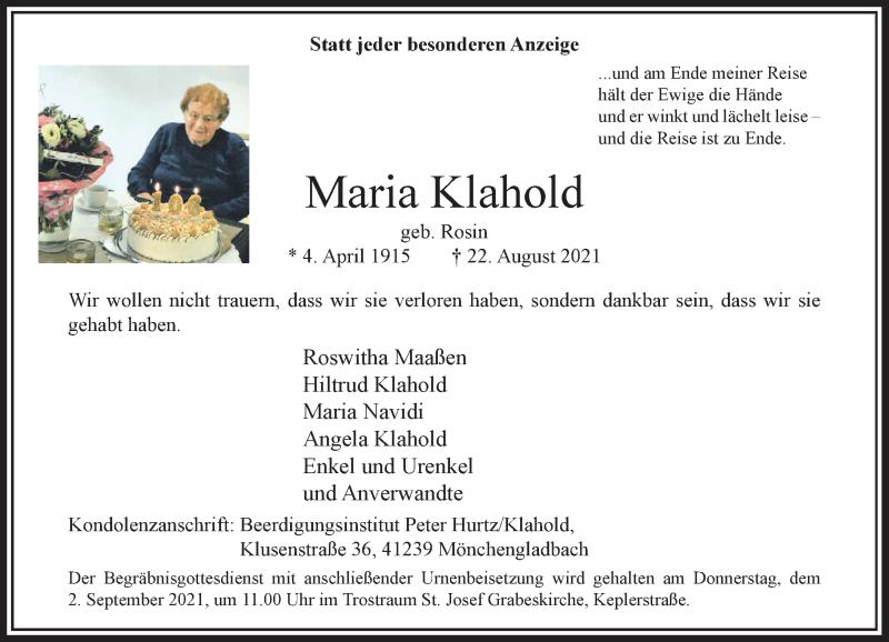 Traueranzeige für Maria Klahold vom 28.08.2021 aus Rheinische Post