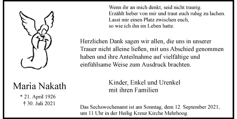 Traueranzeige für Maria Nakath vom 28.08.2021 aus Rheinische Post