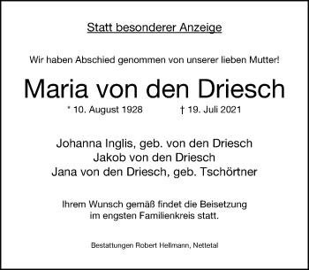 Traueranzeige von Maria von den Driesch von Rheinische Post