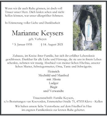 Traueranzeige von Marianne Keysers von Rheinische Post