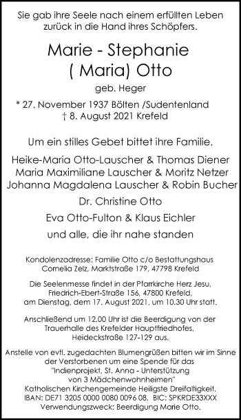 Traueranzeige von Marie-Stephanie Otto von Rheinische Post