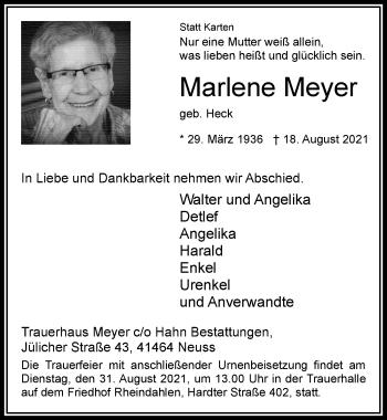 Traueranzeige von Marlene Meyer von Rheinische Post