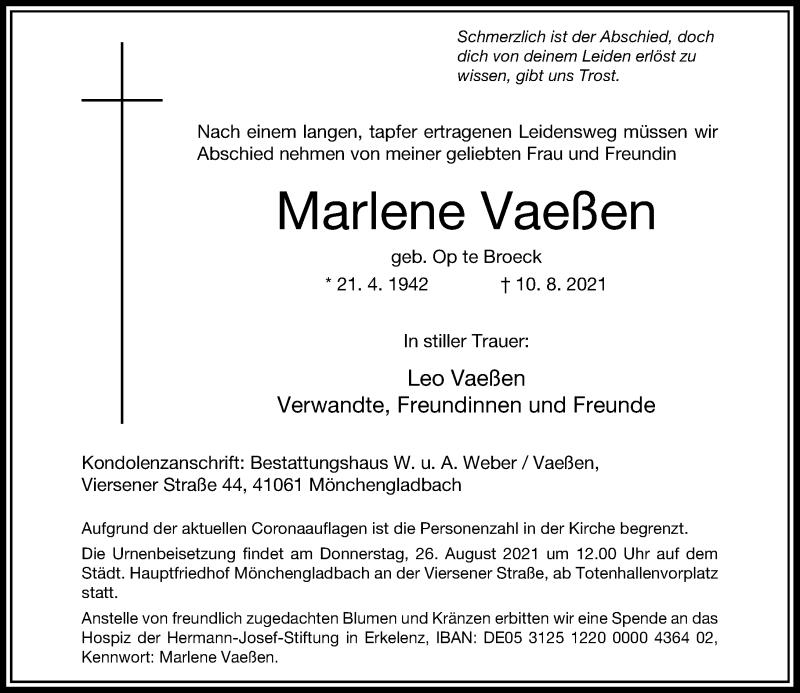 Traueranzeige für Marlene Vaeßen vom 21.08.2021 aus Rheinische Post