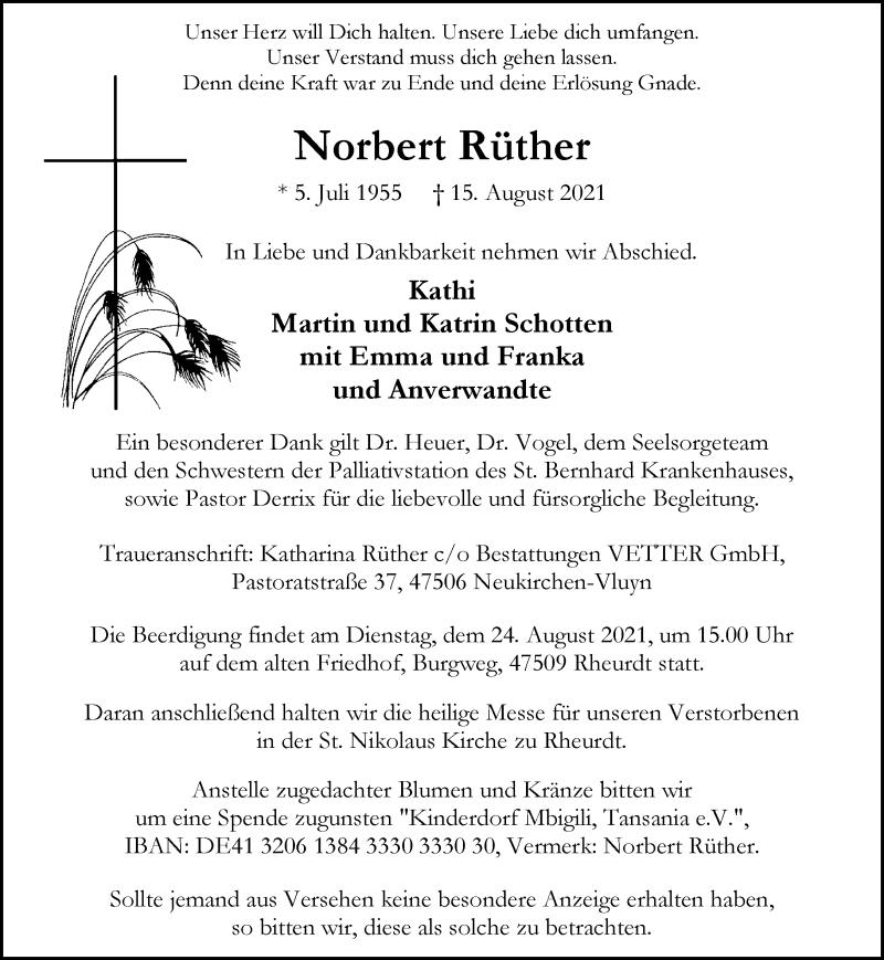 Traueranzeige für Norbert Rüther vom 21.08.2021 aus Rheinische Post