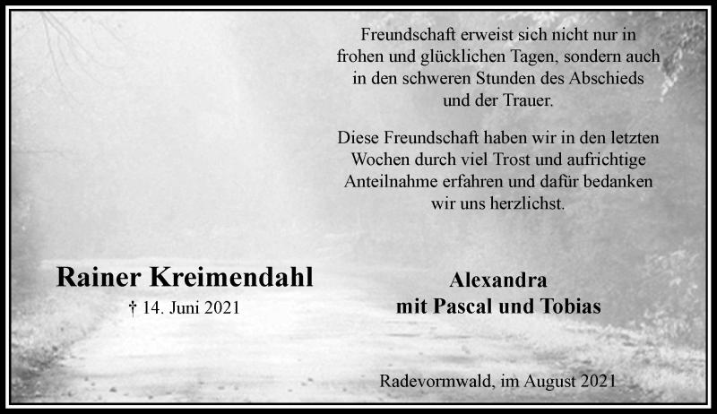 Traueranzeige für Rainer Kreimendahl vom 07.08.2021 aus Rheinische Post
