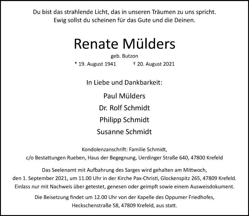 Traueranzeige für Renate Mülders vom 28.08.2021 aus Rheinische Post