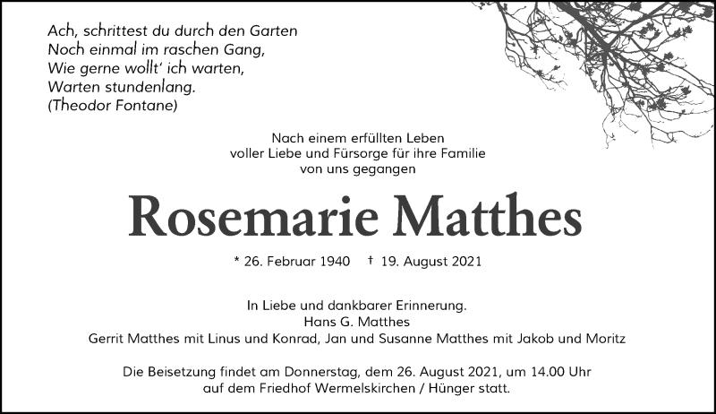 Traueranzeige für Rosemarie Matthes vom 24.08.2021 aus Rheinische Post