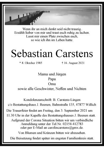 Traueranzeige von Sebastian Carstens von Rheinische Post