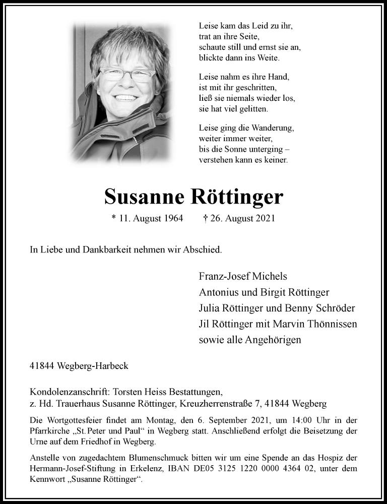 Traueranzeige für Susanne Röttinger vom 01.09.2021 aus Rheinische Post