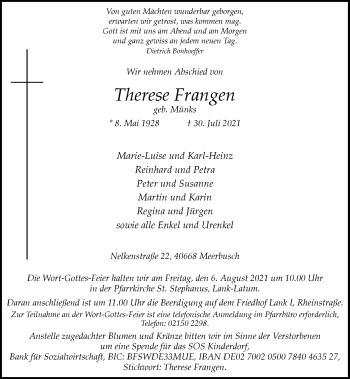 Traueranzeige von Therese Frangen von Rheinische Post