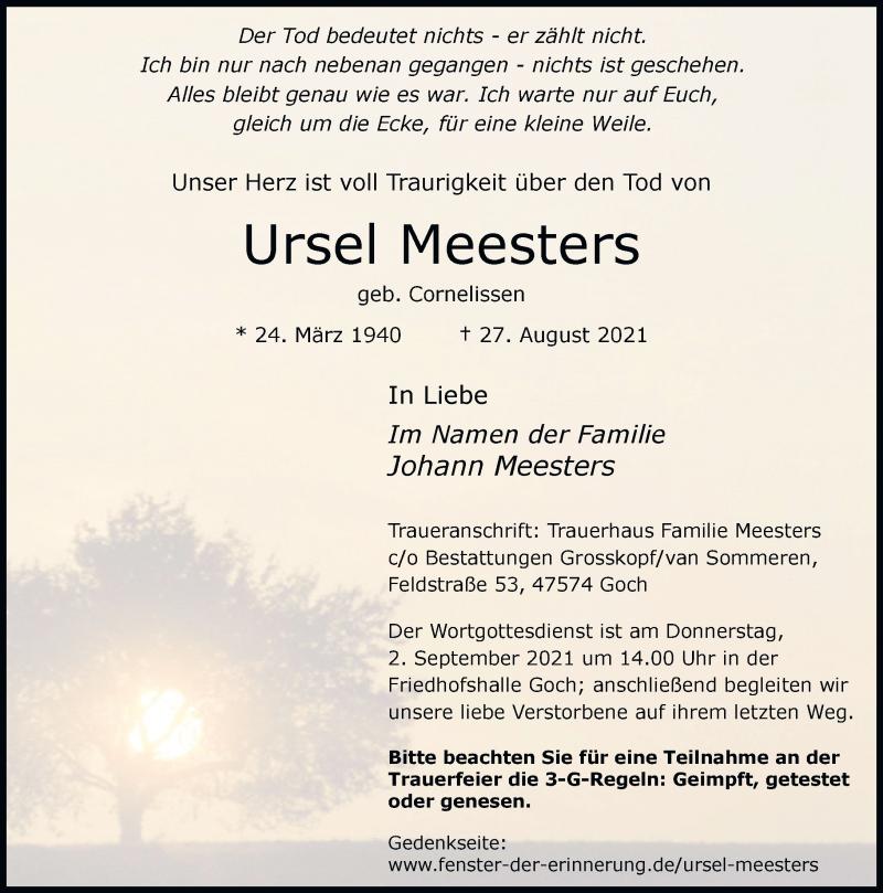 Traueranzeige für Ursel Meesters vom 31.08.2021 aus Rheinische Post