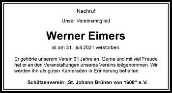 Traueranzeige von Werner Eimers von Rheinische Post