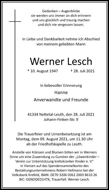 Traueranzeige von Werner Lesch von Rheinische Post