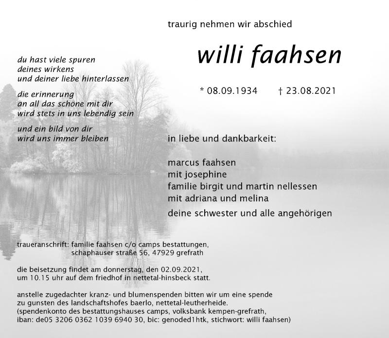 Traueranzeige für Willi Faahsen vom 28.08.2021 aus Rheinische Post