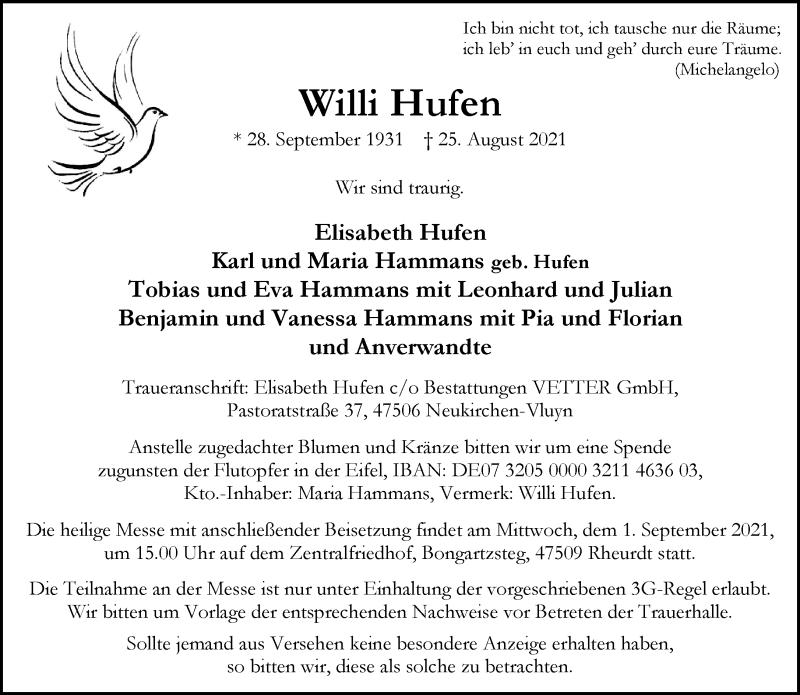Traueranzeige für Willi Hufen vom 28.08.2021 aus Rheinische Post