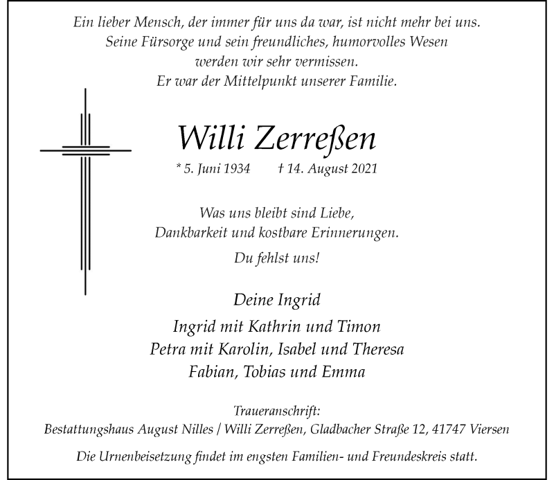 Traueranzeige für Willi Zerreßen vom 21.08.2021 aus Rheinische Post