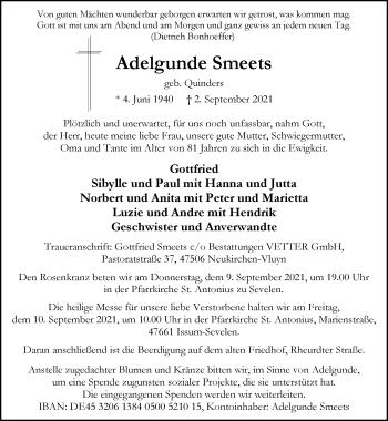Traueranzeige von Adelgunde Smeets von Rheinische Post