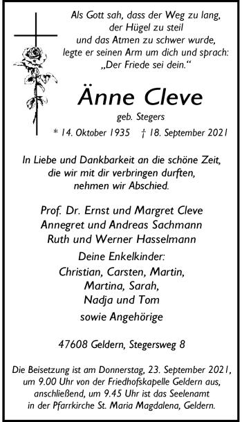 Traueranzeige von Änne Cleve von Rheinische Post