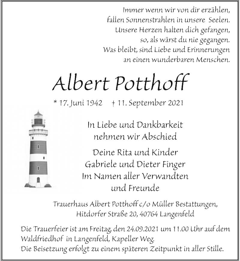 Traueranzeige für Albert Potthoff vom 18.09.2021 aus Rheinische Post