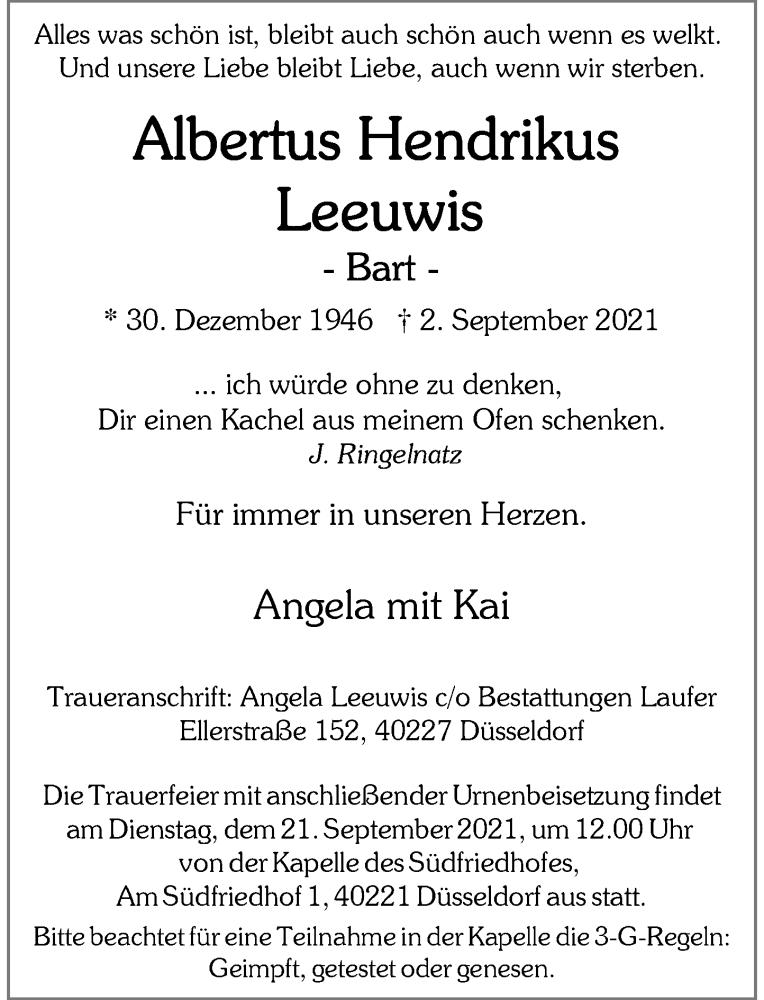 Traueranzeige für Albertus Hendrikus Leeuwis vom 11.09.2021 aus Rheinische Post