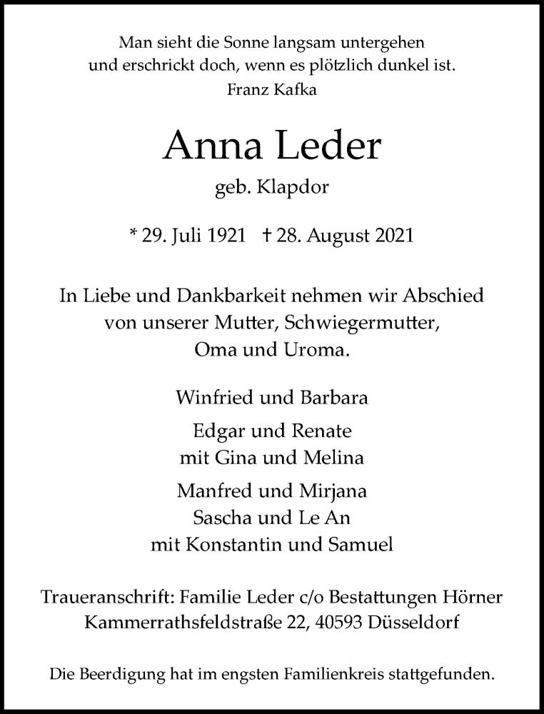 Traueranzeige für Anna Leder vom 11.09.2021 aus Rheinische Post