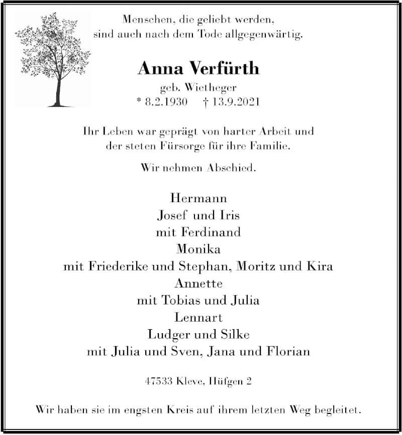 Traueranzeige für Anna Verfürth vom 18.09.2021 aus Rheinische Post