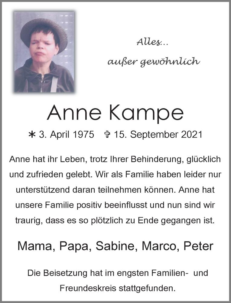 Traueranzeige für Anne Kampe vom 02.10.2021 aus Rheinische Post