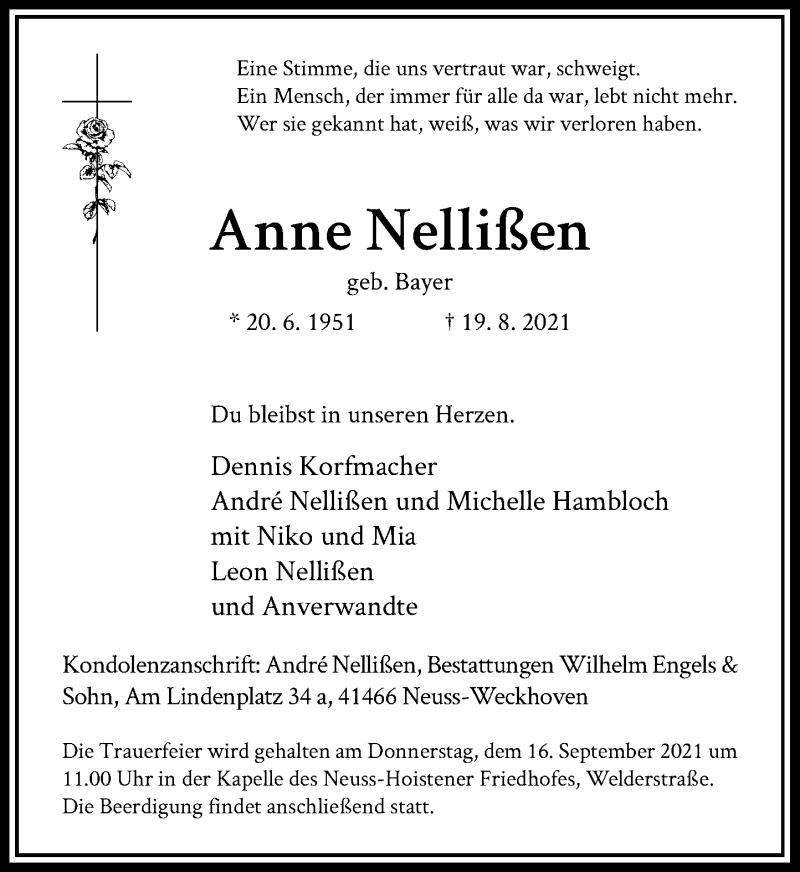 Traueranzeige für Anne Nellißen vom 11.09.2021 aus Rheinische Post
