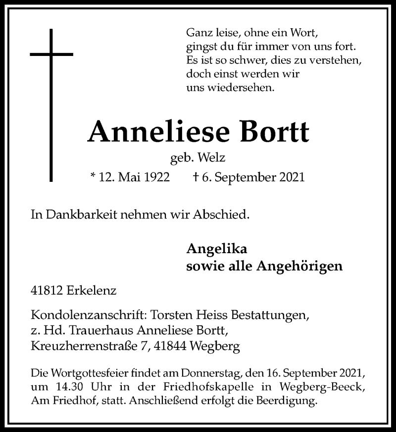 Traueranzeige für Anneliese Bortt vom 11.09.2021 aus Rheinische Post